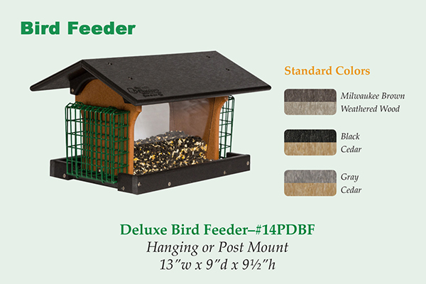 Amish Recycled Poly Deluxe Hopper Feeder w/Double Suet Cages
