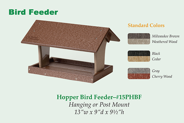 Amish Recycled Poly Hopper Bird Feeder