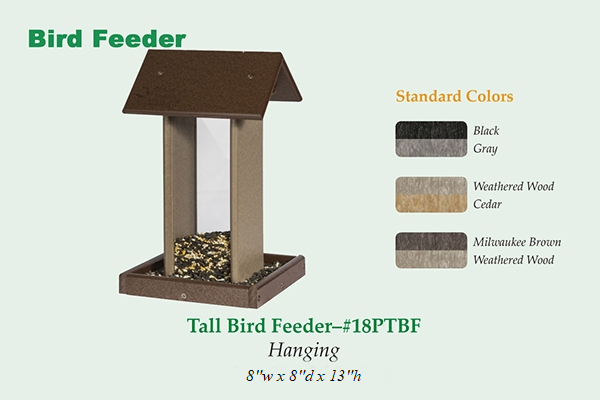 Amish Recycled Poly Tall Hopper Bird Feeder