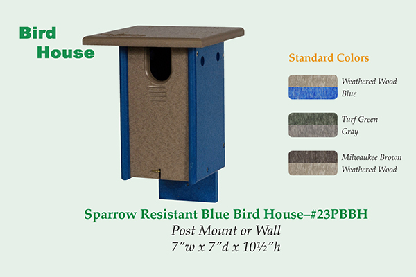 Amish Recycled Poly Small Sparrow Resistant Bluebird House Colors