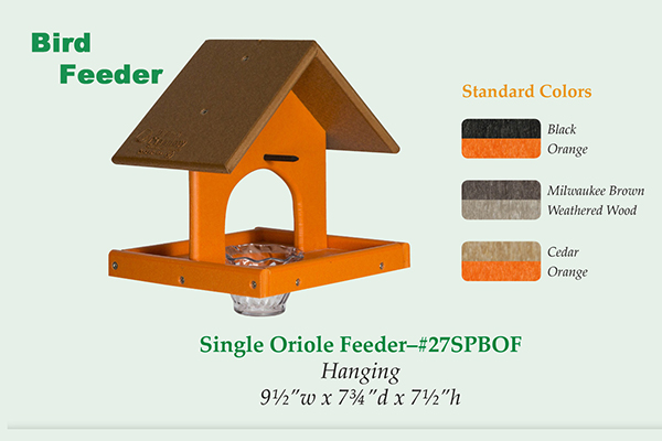 Amish Recycled Poly Single Tray Oriole Feeder