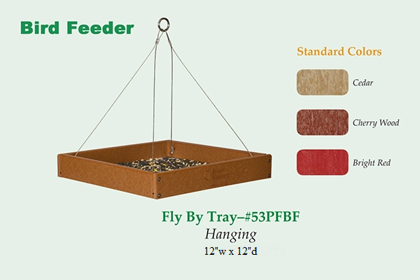 Amish Recycled Poly Hanging Tray Bird Feeder