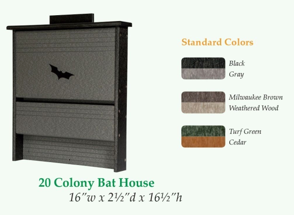 Amish Handcrafted Recycled Poly 20 Colony Bat House