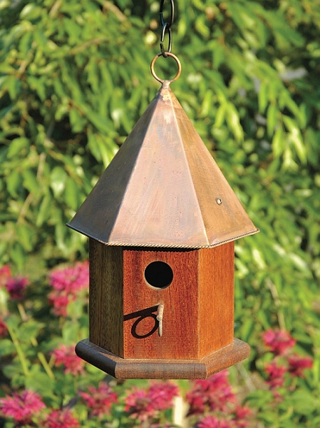 Songbird Copper Bird House Quality Handcrafted Heartwood