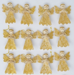 Abaca Argel Angel Ornament Natural w/Gold Dust 2
