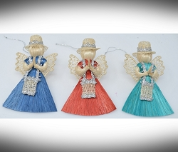 Abaca Angel Messenger Ornament Assorted 3