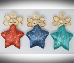 Abaca Angel Star Ornament Green, Red, Blue Set of 3