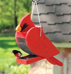Amish Hand-Made Shaped Bird Feeder Cardinal