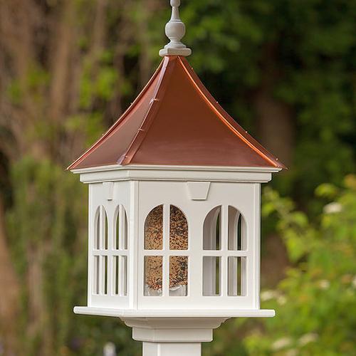 14 windows gazebo bird feeder bright copper slope for Gazebo roof pitch