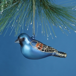 Cobane Studio Blue Grosbeak Blown Glass Ornament