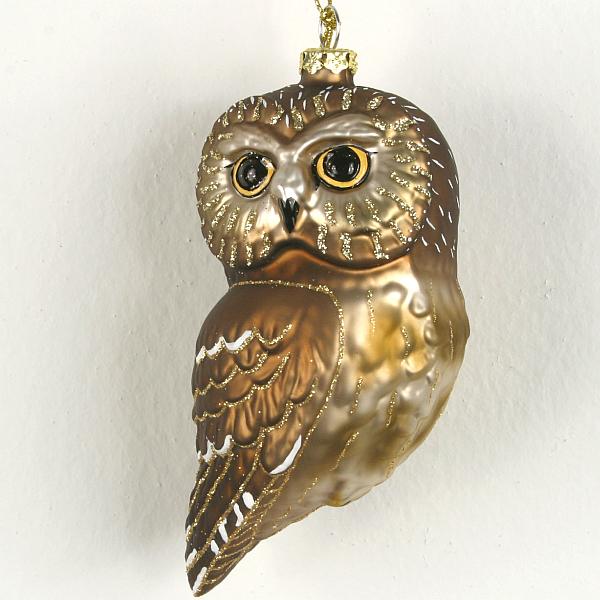 Cobane studios northern saw whet owl blown glass ornament
