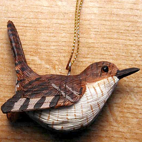 "Wren Ornament, Handcrafted ""Life-Like"" Hanging Bird Ornaments"