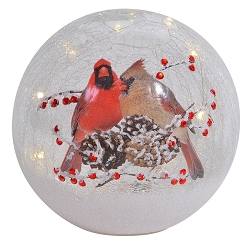 Crackle Glass LED Globe 7 Inch Cardinal Pair