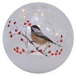 Crackle Glass LED Globe 6 Inch Chickadee