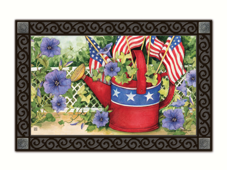 Patriotic Watering Can Matmate Interchangeable Doormat