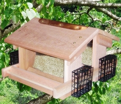 Songbird Cedar Deluxe Twin Hopper Feeder w/ 4 Suet Baskets