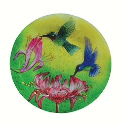 Fluttering Hummingbirds Embossed Glass Birdbath Bowl