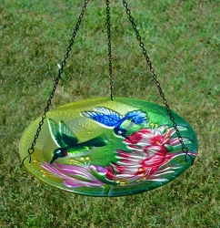 Fluttering Hummingbirds Embossed Hanging Glass Birdbath