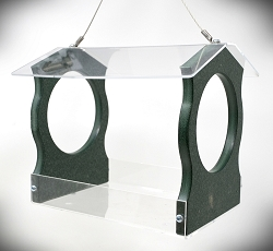 Recycled Poly Fly-Through Hopper Feeder Small Green