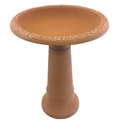 Tierra Garden Terra Cotta Fiber Clay Bird Bath with Pedestal Base