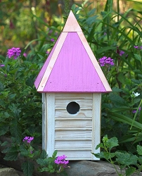 Gatehouse Bird House Weathered White w/Pink Roof