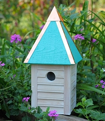 Gatehouse Bird House Weathered White w/Turquoise Roof