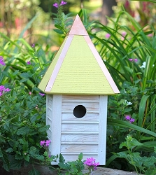 Gatehouse Bird House Weathered White w/Yellow Roof