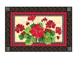Geraniums and Checks MatMate Doormat
