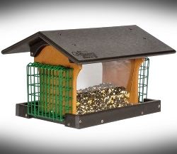 Amish Recycled Poly Deluxe Hopper Feeder w/Double Suet