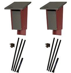 Amish Recycled Poly Sparrow Resistant Bluebird House Package w/Pole Kit