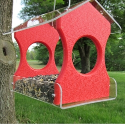 Recycled Poly Hanging Bird Feeder Red