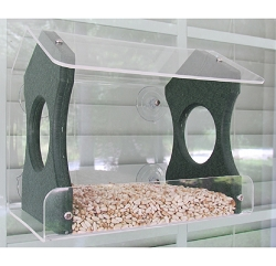 Recycled Poly Window Bird Feeder Medium Green