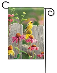 Goldfinches & Coneflowers Garden Flag