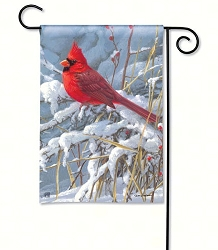 Cardinal in Snow Garden Flag