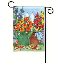 Vintage Watering Can Garden Flag