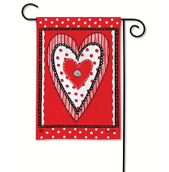 Button Valentine Garden Flag