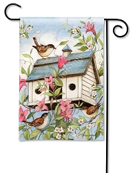 Spring Birdhouse with Clematis Garden Flag