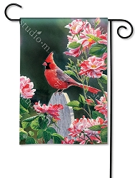 Cardinal with Variegated Roses Garden Flag