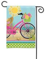 Morning Beach Ride Garden Flag