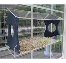 Recycled Poly Window Bird Feeder Large Blue
