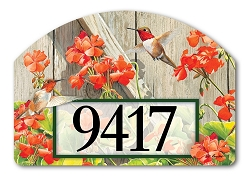 Hummingbirds with Geraniums Yard DeSign