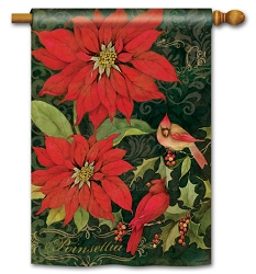 Poinsettia Cardinals House Flag