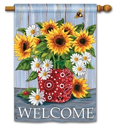 Bandana Sunflowers Double Sided House Flag