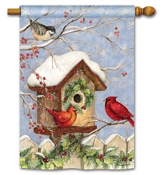 Christmas Birdhouse House Flag