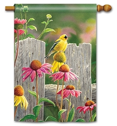 Goldfinches & Coneflowers House Flag