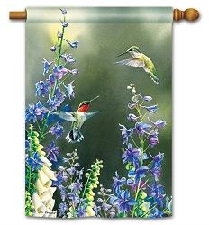 Hummingbird Garden House Flag