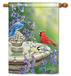 Birdbath Gathering House Flag