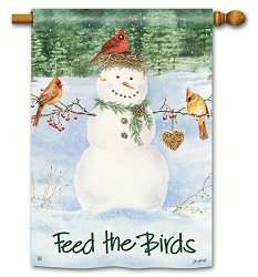 Snowman Birdfeeder Double Sided House Flag