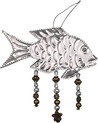 Punched Metal & Bead Ornament Fish Set of 3