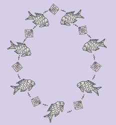 Punched Metal & Bead Garland Fish